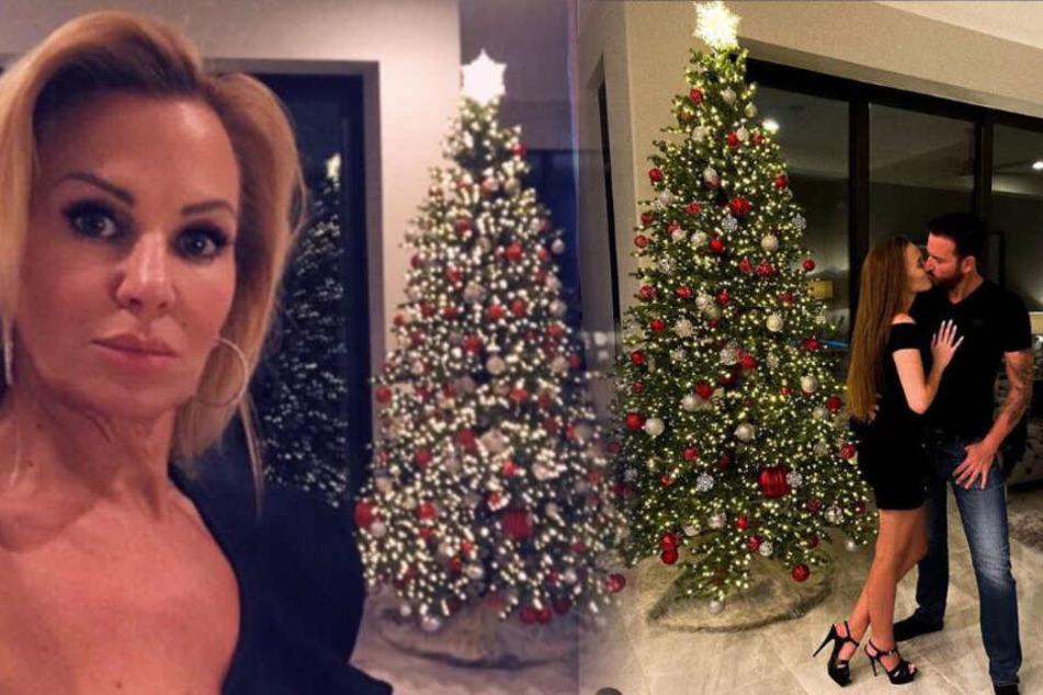 Ein Baum - zwei Frauen: Links posiert Michael Wendlers Ex-Frau, rechts der Wendler selbst mit seiner Laura.