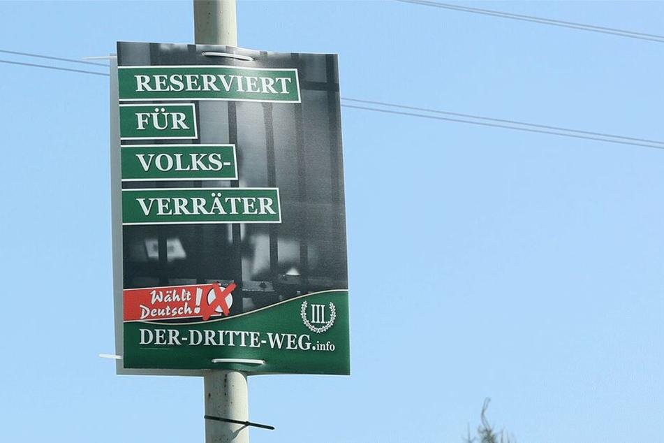 """Auch in Werdau sorgten """"Der III.Weg""""-Plakate für Ärger."""