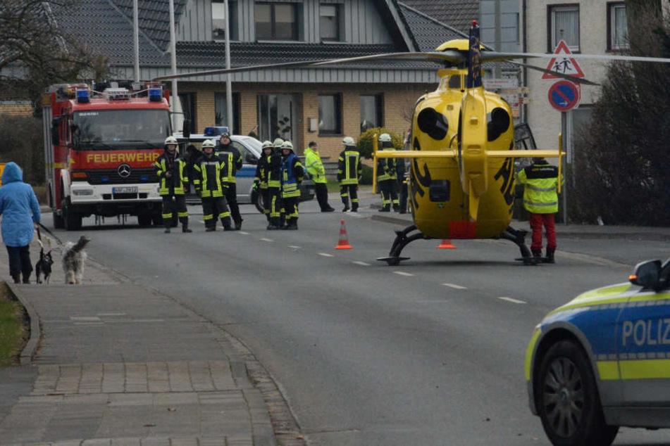 Ein Rettungshubschrauber wurde zur Unfallstelle gerufen.