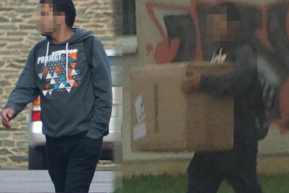 Der mutmaßliche Terrorist al-Bakr (22) schleppt eine große Kiste zu seiner Wohnung.