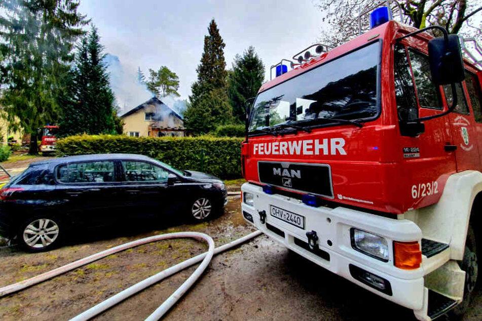 In einem Haus in Oranienburg ist am Mittag ein Feuer ausgebrochen.