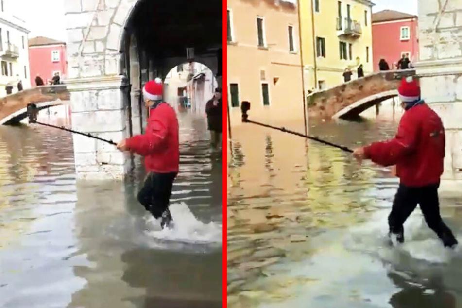 Katastrophen-Tourist in Venedig: Beim Filmen passiert etwas Dummes