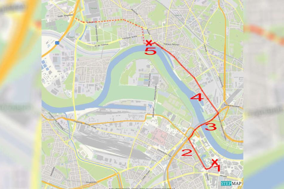 So muss der Fluchtweg gewesen sein: vom Tatort Schloss (1) über den Postplatz, die Ostra-Allee (2)entlang. Über die Marienbrücke (3) zur Leipziger Straße (4) bis zur Garage in der Kötzschenbroder Straße (5). Von dort verliert sich die Spur.