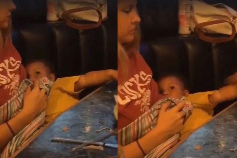 Paula Goodwin stillt ihren Sohn Zachary (3).