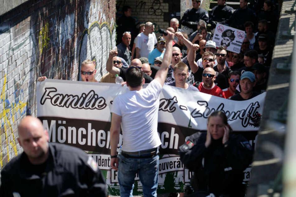Die Neonazi-Demo in Mönchengladbach.