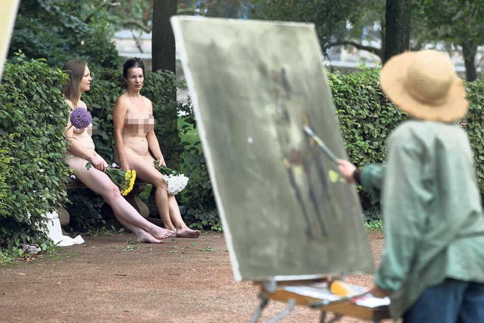 Diese Malerin ließ das Pferd rechts stehen und konzentrierte sich allein auf  die Nackt-Modelle.