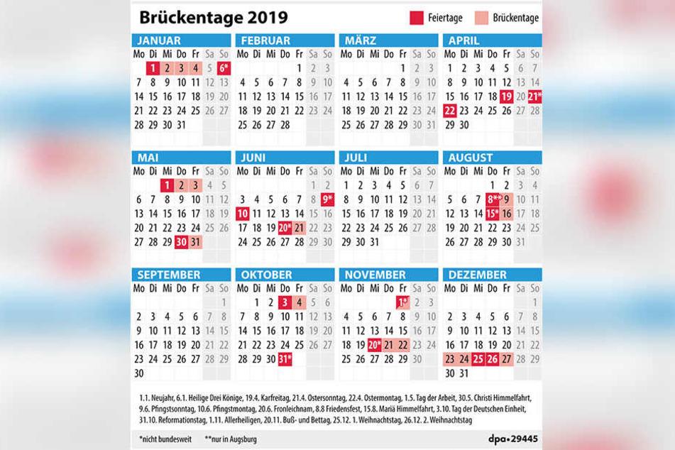 Mit diesem Kalender gerät kein Brückentag aus dem Blick.