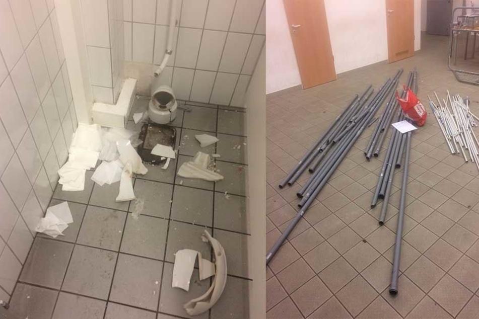 Fotos der Polizei zeigen eine der zerstörten Toiletten und die Stangen, mit denen die Beamten angegriffen wurden.
