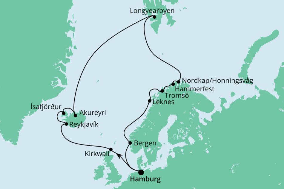 Von Hamburg aus, könnt Ihr auf der AIDAsol den Polarkreis erkunden.