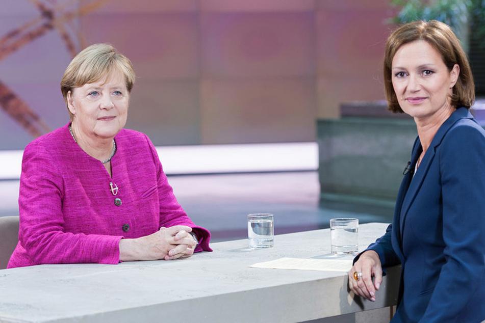 Angela Merkel im Sommerinterview mit der Leiterin des ZDF-Hauptstadtstudios, Bettina Schausten in Berlin.