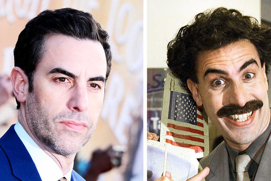 Sacha Baron Cohen (l.) schlüpfte zwölf Jahre nach dem erfolgreichen Kinofilm noch einmal in die Rolle von Borat (r.).