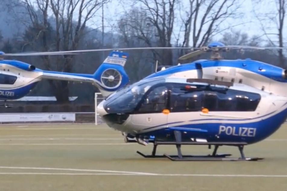 Das SEK rückte mit zwei Hubschraubern im badischen Leimen an.