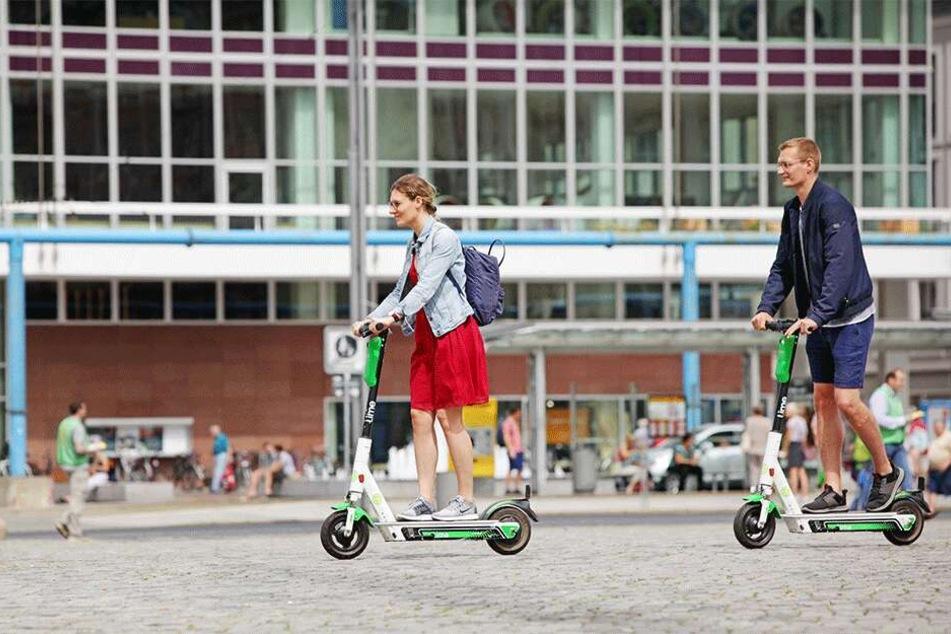 Die E-Scooter sind in Dresden angekommen, vor allem in der Innenstadt sehr präsent.