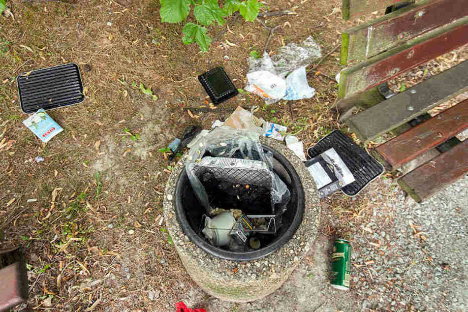 Ärgerlich: Oftmals liegt der Grill-Müll nicht in, sondern weit neben den Mülleimern, wie hier im Stadtpark.