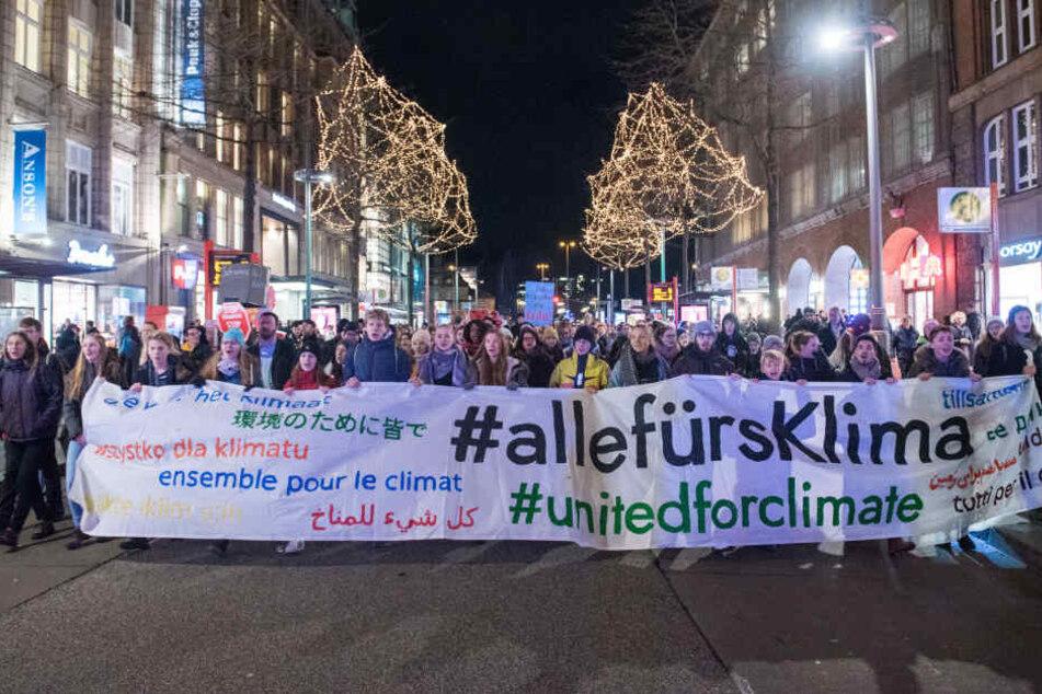 Hunderte Demonstranten zogen durch die Hamburger Innenstadt.