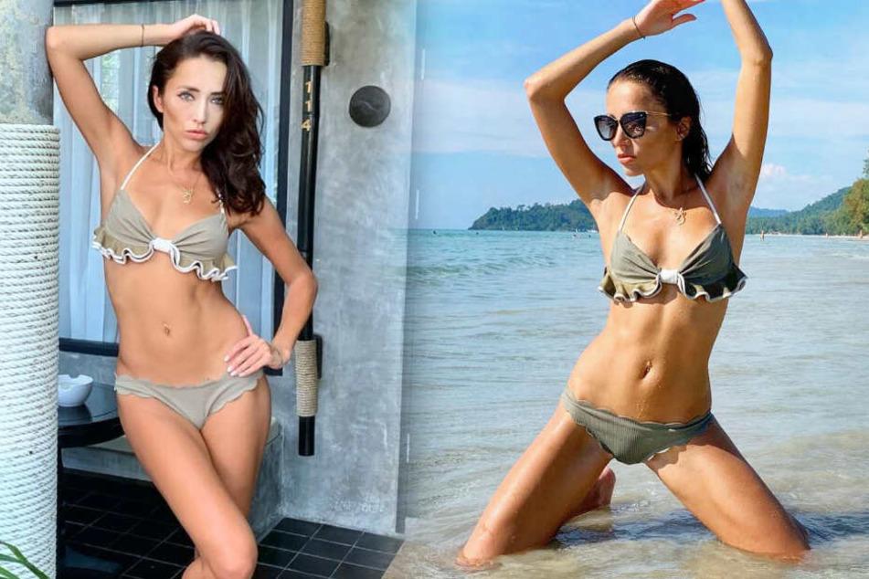 Auch während der Dreharbeiten trug das Model den Bikini (Fotomontage).