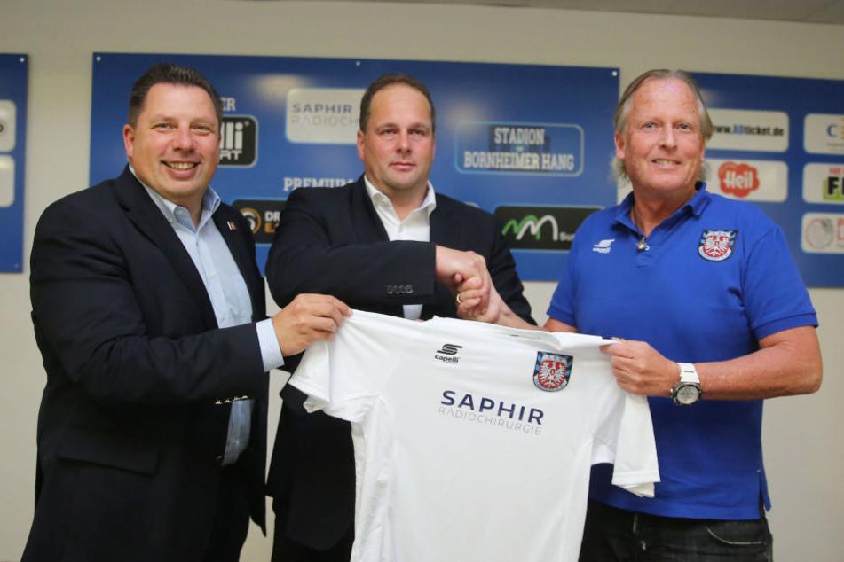 """Gesucht, gefunden: Der FSV hat mit """"Saphir"""" seinen neuen Hauptsponsoren vorgestellt."""