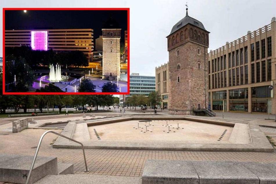 Der Brunnen Am Roten Turm sprudelt zum Stadtjubiläum