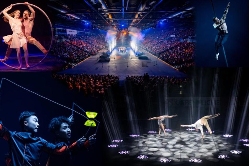 """Jede Menge Action: Die Akrobaten und Turner der Veranstaltung """"Feuerwerk der Turnkunst"""" stehen nach ihren Performances in der Halle, während um sie herum eine Feuerwerks-Show abgefeuert wird!"""