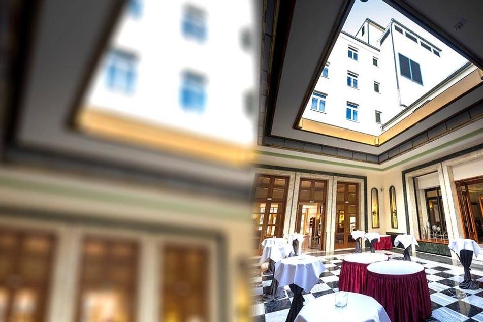 Ein seltener Anblick: Die mondäne Hotelhalle mit geöffnetem Glasdach.