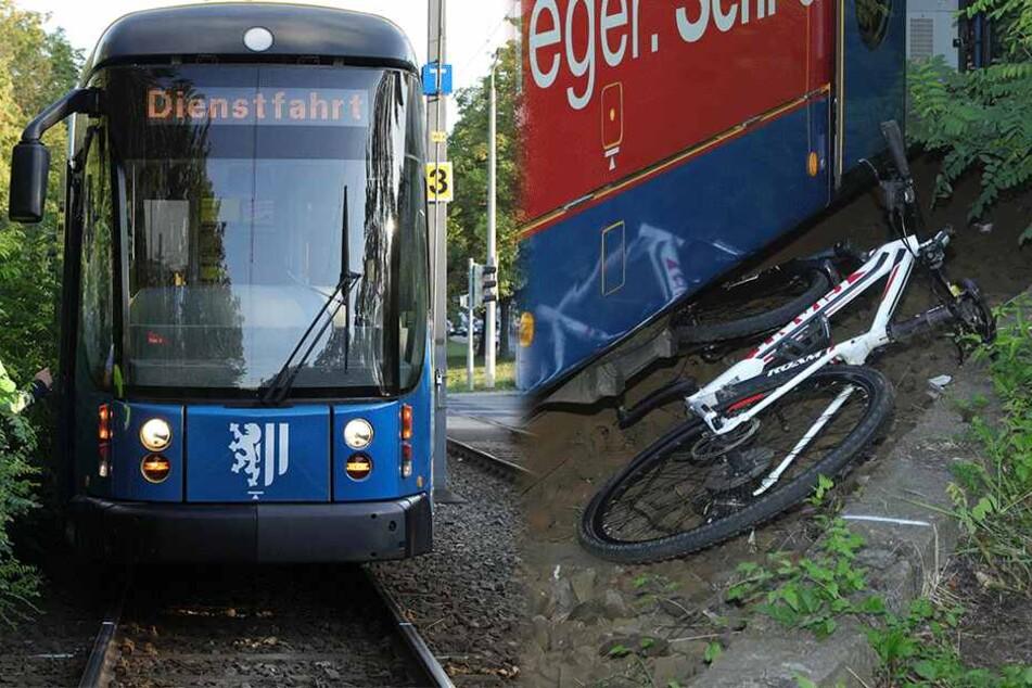 Unfall in Dresden: Biker will Straße überqueren und wird von Straßenbahn erfasst
