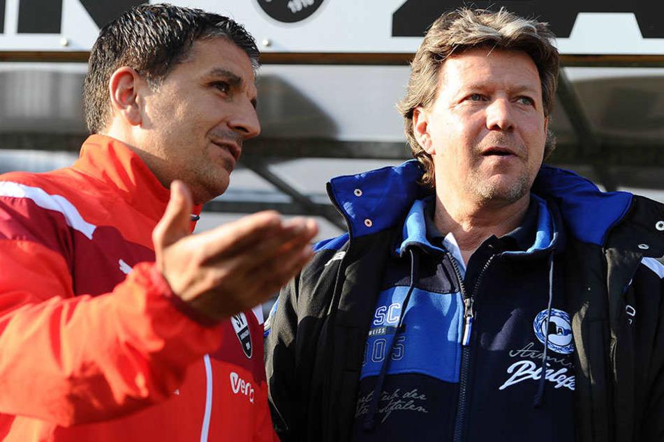 Sind sich sicher: Die Liga bleibt bis zum Ende eng. Sandhausen-Trainer Kenan Kocak (li.) und DSC-Trainer Jeff Saibene (re.).