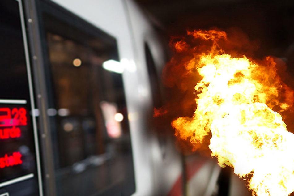 Die Bundespolizei löschte die Flammen, doch der Zug musste trotzdem stoppen. (Symbolbild)