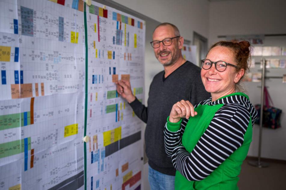 """Streng geheim! In Moscheroschs Büro hängt eine """"Tapete"""", auf der dokumentiert ist, wie sich die Serie künftig entwickelt. Elly Schneider (45) berät den Chefdramaturgen, wenn es um die Entwicklung der IAF-Figuren geht."""