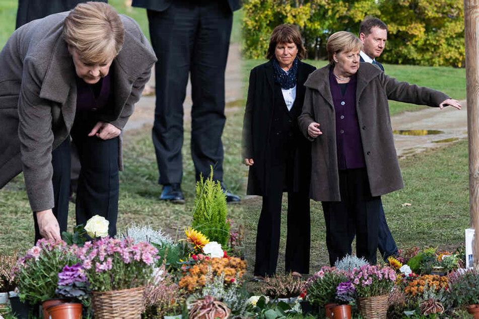 Bundeskanzlerin in Zwickau: Angela Merkel legt Blumen an Gedenkort für NSU-Opfer nieder