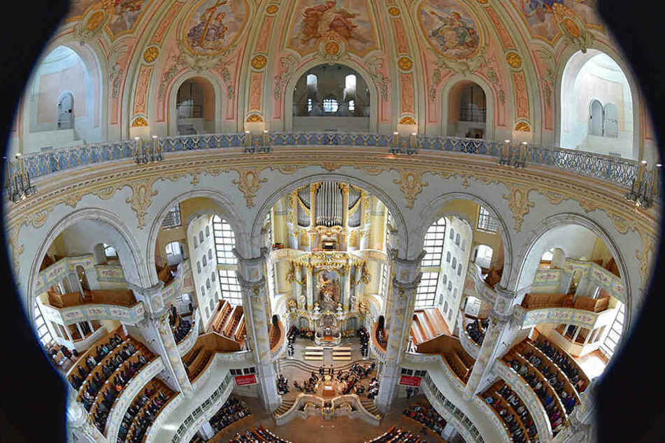 Derzeit können Besucher noch einen ungehinderten Blick in die Frauenkirche werfen.