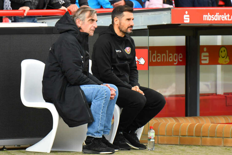 Wird es dieses Duo auch kommende Woche bei Dynamo noch so geben? Sportchef Ralf Minge (links) und Trainer Cristian Fiel.
