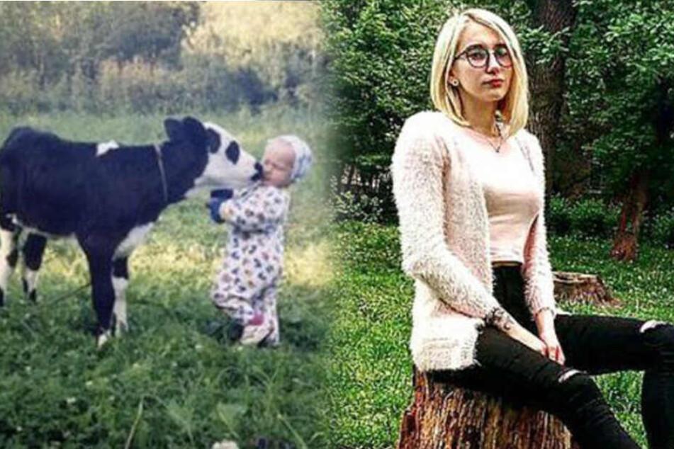 Links sieht man Mariyka als Kind in ihrer Heimat in Tschernobyl. Die Ukrainerin ist mittlerweile 19 Jahre alt (rechts).