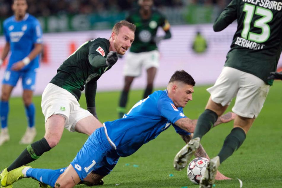 Steven Zuber und seine Hoffenheim-Teamkollegen geben sich kämpferisch gegen den VfL Wolfsburg.