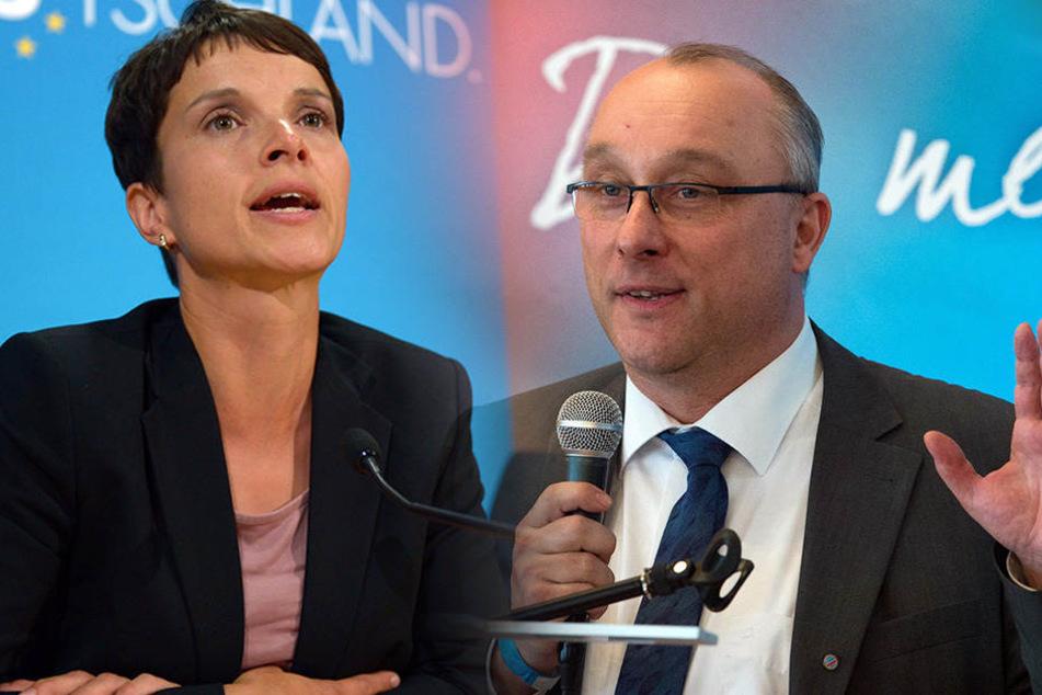 Will Jens Maier (55, r.) loswerden: Frauke Petry. Die Disziplinar-Prüfung gegen ihn läuft noch.