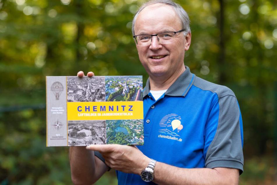 """Christian Köhler (58) hat am Sonntag den zweiten Teil von """"Chemnitz: Luftbilder im Jahrhundertblick"""" vorgestellt."""