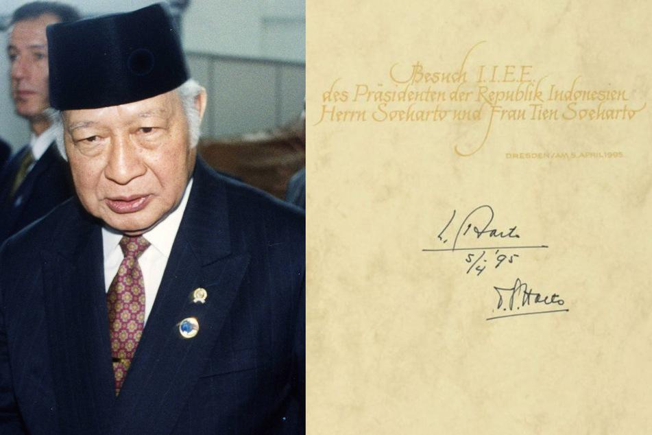 Indonesiens Präsident Suharto kam 1995 nach Sachsen. (Bildmontage)