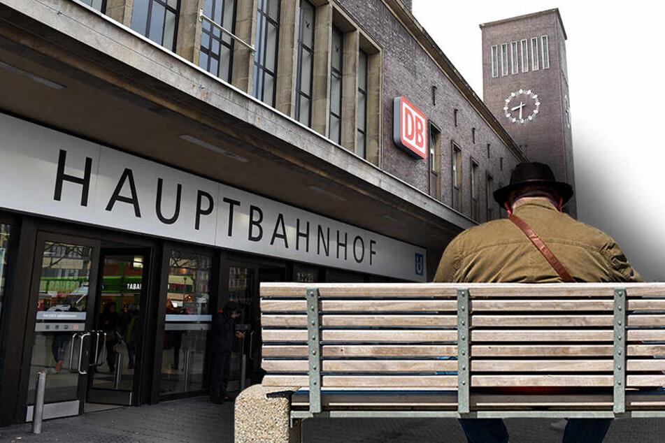 Vorm Hauptbahnof in Düsseldorf setzte sich der 86-Jährige auf eine Bank in einer Bushaltestelle.