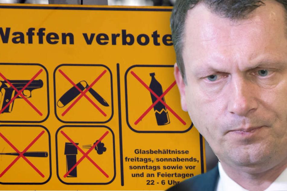 """Ein Schild """"Waffen verboten"""" ist am Anfang der Reeperbahn in Hamburg an einem Mast befestigt. Vergleichbare Schilder plant auch Kelch für Cottbus. (Bildmontage)"""