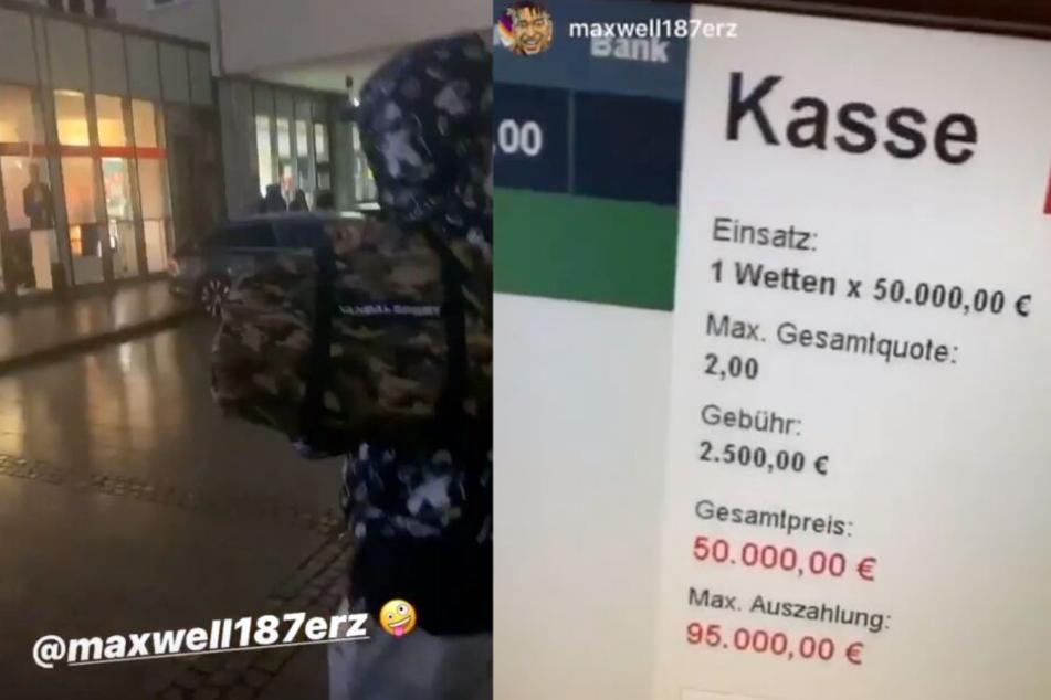 Mit einer Tasche voller Geld betritt Maxwell die Tipico-Filiale und setzt 50.000 Euro.