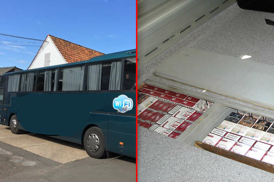 In diesem Reisebus hatten die Schmuggler die Zigaretten in Fächern unter den Sitzen versteckt.