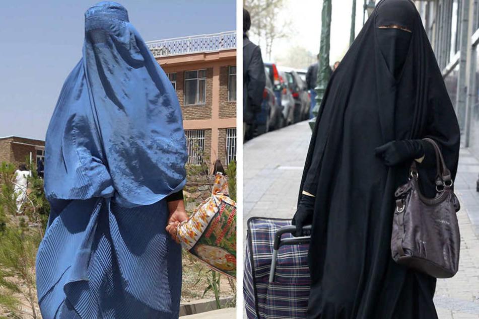 Frauen in Burka (li.) oder Nijab (re.) müssen bei Sicherheitskontrollen den Schleier lüften.