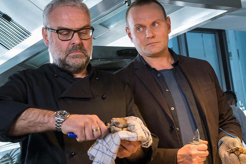 Kommen sich beim Austernessen näher: Kommissar Stellbrink (Devid Striesow, 43, r.) und Sternekoch Carlinó  (Jophi Ries, 57).