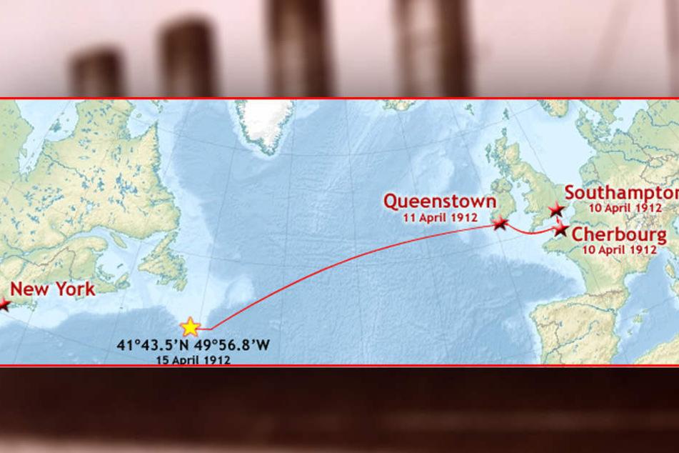 Die ursprüngliche Route der RMS Titanic im Jahr 1912.