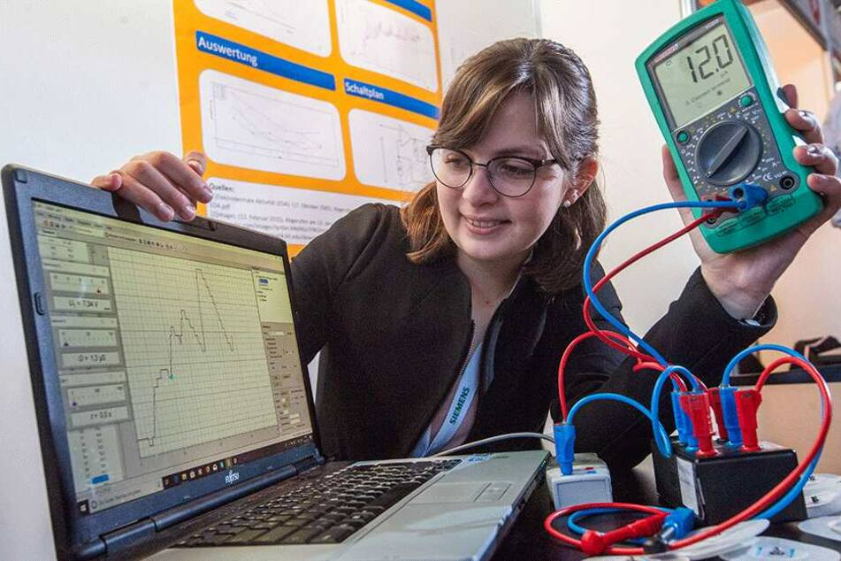 Clara Kristen (17) vom Matthes-Enderlein-Gymnasium Zwönitz belegte den 3. Platz im Fachgebiet Physik. Sie untersuchte die Hautleitwertparameter bei einem spezifischen akustischen Reiz.