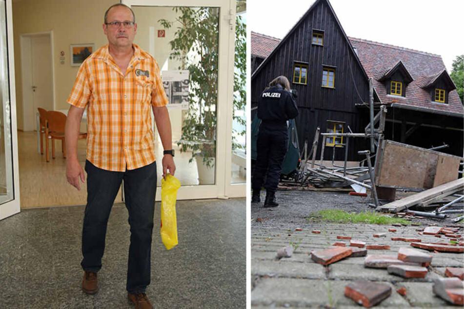 Bei diesem Gerüsteinsturz in Schmilka verletzte sich Andreas Männche schwer.