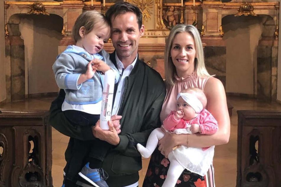 Sven Hannawald, seine Frau Melissa und die gemeinsamen Kinder Glen und Liv.