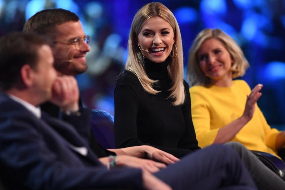 Die Jury: REWE- Einkaufschef Hans-Jürgen Moog, die Moderatoren Joko Winterscheidt und Lena Gercke sowie Amorelie-Gründerin Lea-Sophie Cramer (v.l.n.r.).