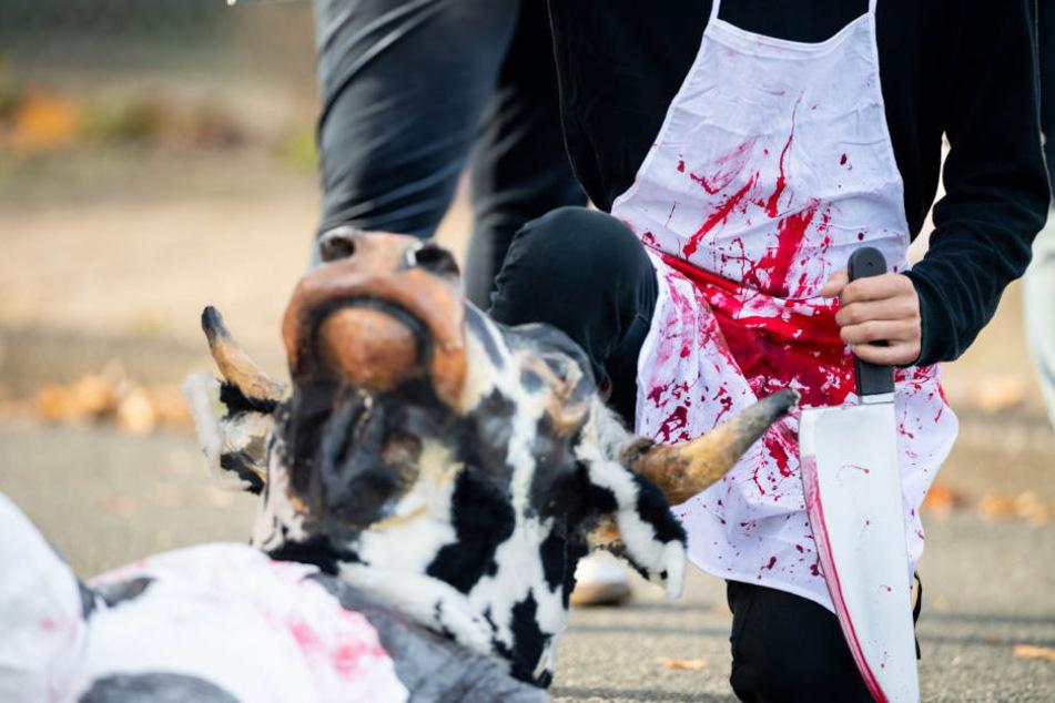 Nach dem Bekanntwerden werden der Tierquälereien auf dem Schlachthof in Oldenburg, demonstrierten viele Tierschützer vor dem Betrieb.