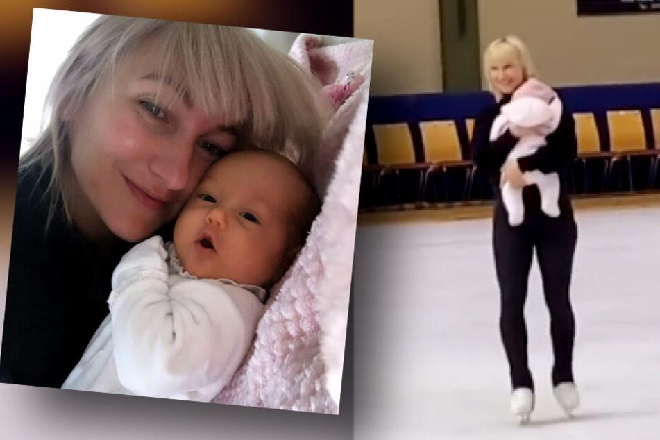 Aljona Savchenko schlittert zum ersten Mal mit Tochter Amilia übers Eis