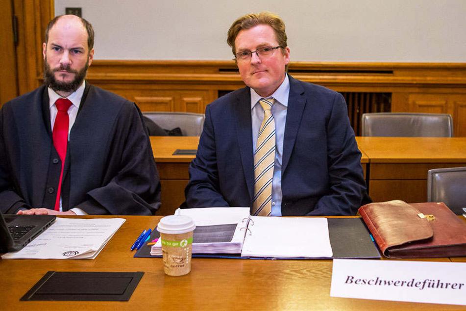 Beschwerdeführer Arvid Samtleben (47) und Anwalt Martin Kohlmann (40). Das Verfassungsgericht wies die Beschwerde des früheren Bautzner AfD-Chefs zurück.